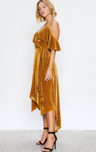 Load image into Gallery viewer, Golden Dreams Hi-low Velvet Dress