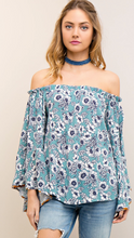 Load image into Gallery viewer, Baby blues floral bell sleeve top
