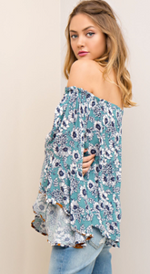 Baby blues floral bell sleeve top