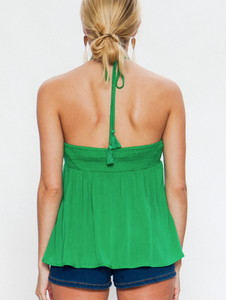 Green with envy embroidery halter top
