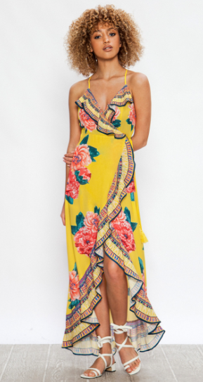 Yellow blooming red roses wrap dress