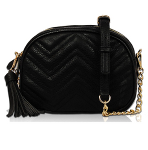 Chevron Vegan Leather Crossbody Bag - Black
