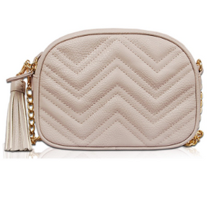 Chevron Vegan Leather Crossbody Bag - Grey