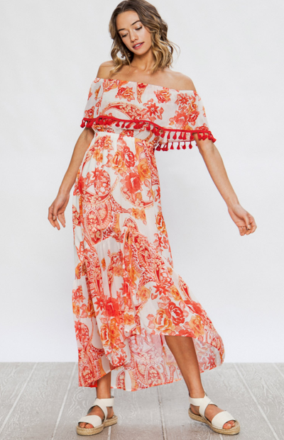 Red Blooming flowers hi-low dress