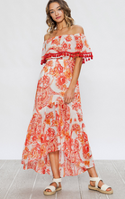 Load image into Gallery viewer, Red Blooming flowers hi-low dress