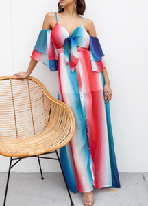Red & blue Ombre Maxi Dress