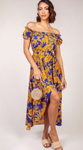 Blue and Gold Faux Button-up Dress
