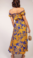 Load image into Gallery viewer, Blue and Gold Faux Button-up Dress