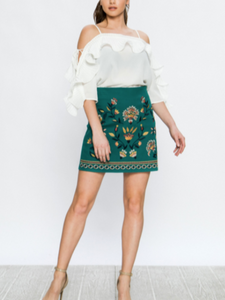 Green Mini Embroidery Skirt