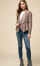 Load image into Gallery viewer, Faux Suede Draped Jacket - Mocha