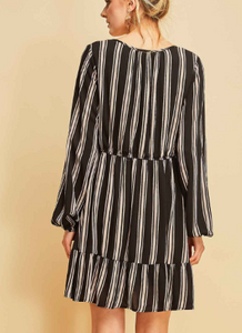 Fall Bliss Dress in Black and Nude Stripes