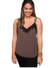 Load image into Gallery viewer, Brown and black trim Cami