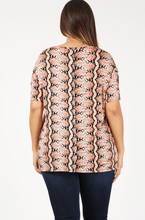 Load image into Gallery viewer, Orange Snake Skin Top