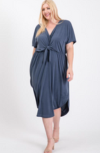 Load image into Gallery viewer, Dusty Blue gray tie front dress