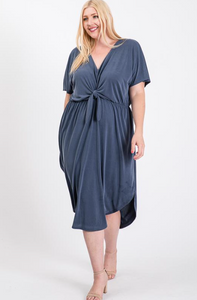 Dusty Blue gray tie front dress