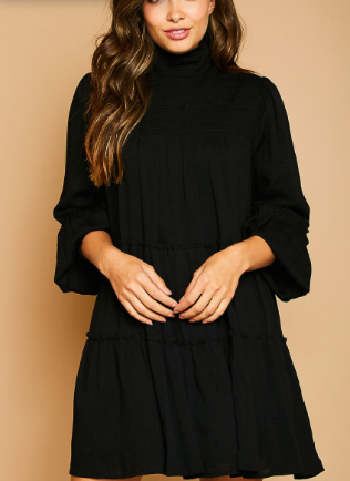 Smocked high neck mini dress in black