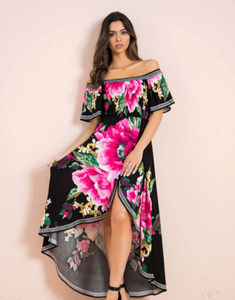 Midnight Pink Flowers Dress