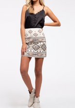 Load image into Gallery viewer, Restocked: Geometric Embroidered Skirt in White