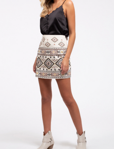 Restocked: Geometric Embroidered Skirt in White