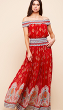 Load image into Gallery viewer, Red Smocked-Waist Maxi Dress