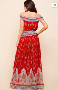 Red Smocked-Waist Maxi Dress