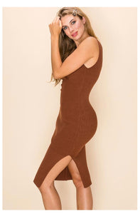 Mocha side slit sweater dress sleeves