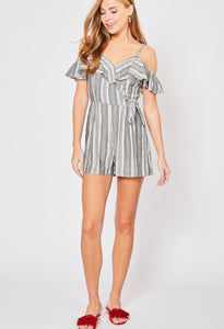 Grey stripe romper