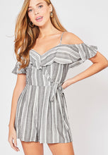 Load image into Gallery viewer, Grey stripe romper