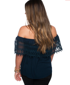Dark Navy off the shoulder top