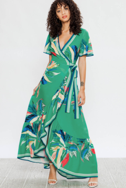 Field of Greens Wrap Maxi Dress