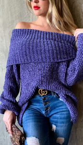 Cozy and Warm Purple Sweater
