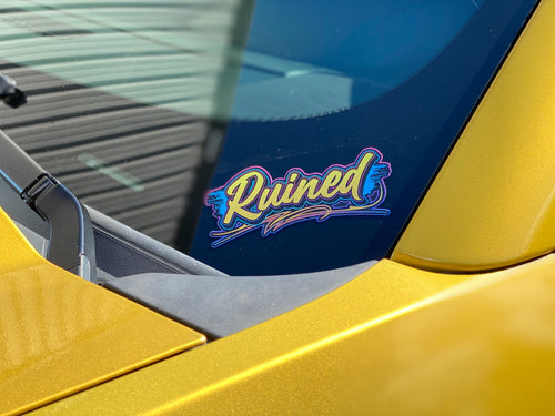 RUINED metal flake decal