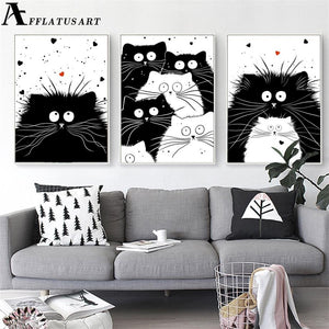 Kawaii Cat Wall Art Canvas Painting Black White Animals Nordic Posters And Prints Wall Pictures Kids Room Bedroom Decor