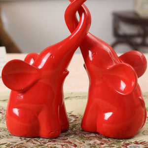 Resin Animal Elephant Lovers Figurine Red Handmade Crafts Sculpture Statuette Wedding Gifts Decor home decoration accessories