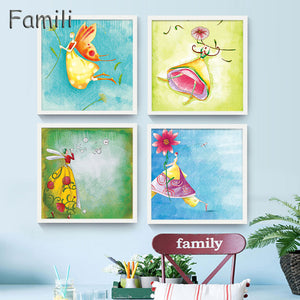 Modern Abstract Watercolor Little Fairy  Movie Poster Prints Wall Art Picture Boy Kids Room Decor Canvas Painting No Frame