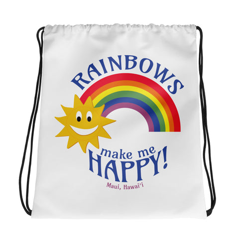 Rainbows make me HAPPY! (Maui, Hawaii) Drawstring bag