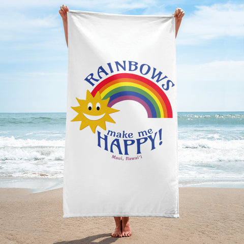 Rainbows make me HAPPY! (Maui, Hawaii) Towel