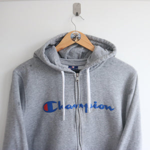 Vintage Champion Spell-Out Zip Up Hoodie(M)