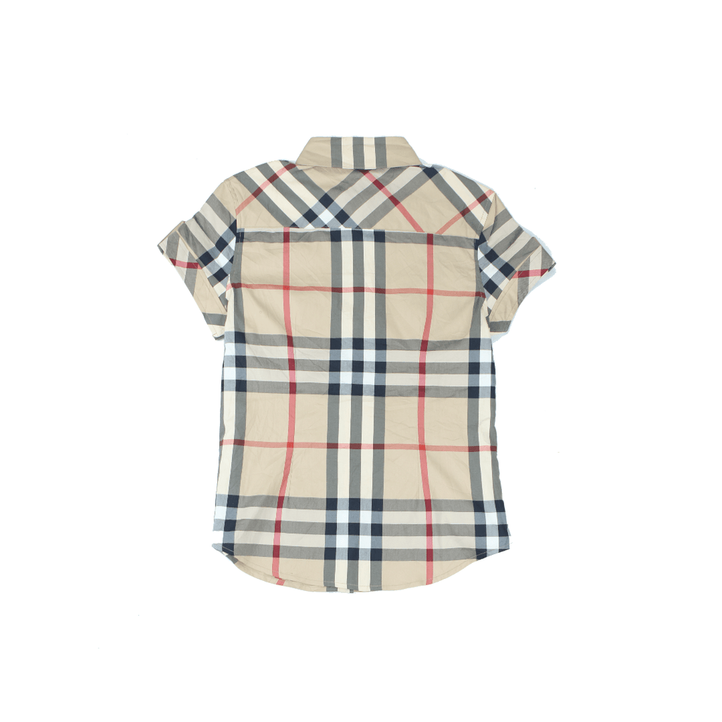 VINTAGE BURBERRY SHIRT BRIT HOUSE CHECK PATTERN SHORT SLEEVE SHIRT BACK