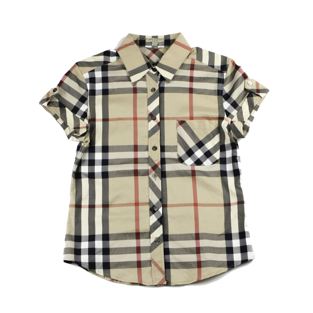 VINTAGE BURBERRY SHIRT  BRIT HOUSE CHECK PATTERN SHORT SLEEVE SHIRT