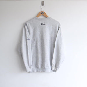Vintage Champion Embroided Sleeve  Heather Grey Spellout (M)