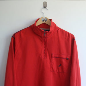 Vintage Nautica Orange Quarter Zip Zip Pocket (M)