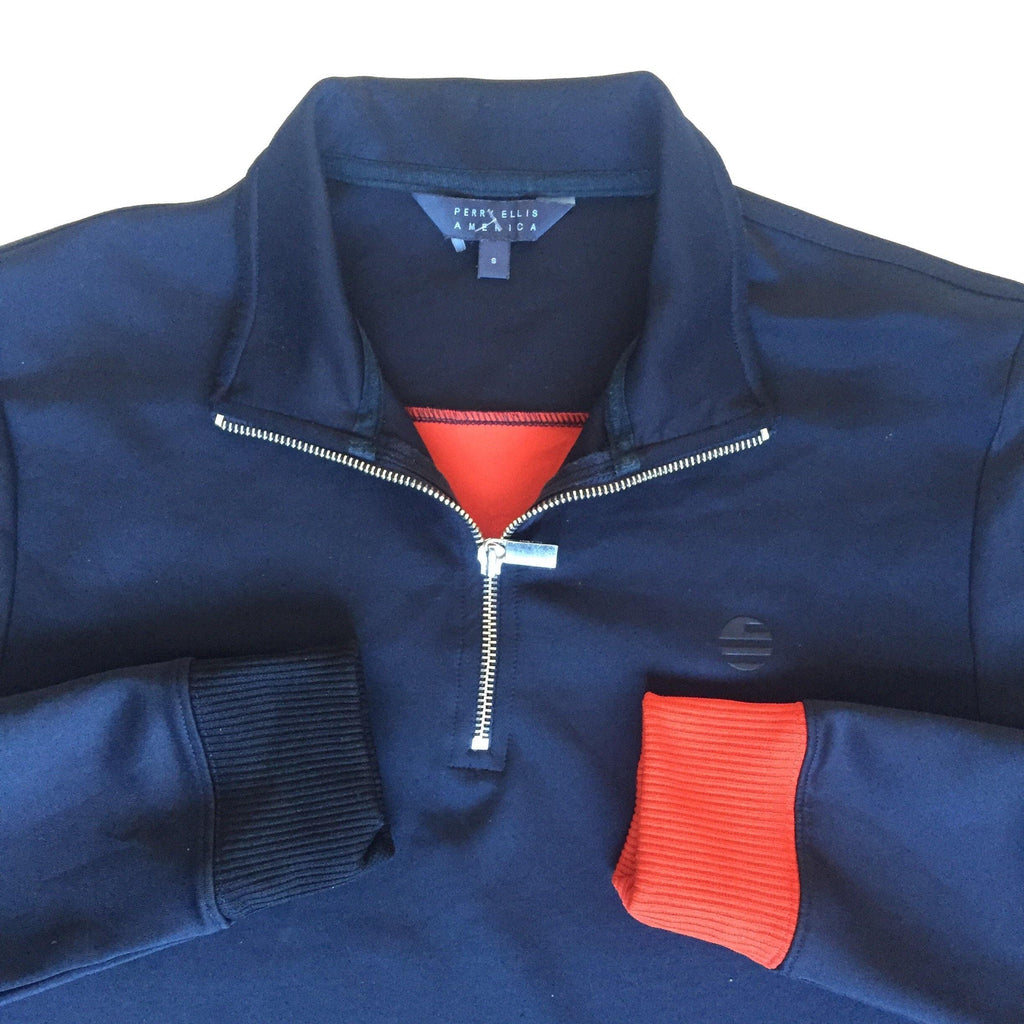 Vintage Perry Ellis Block Spellout Quarter Zip (S)