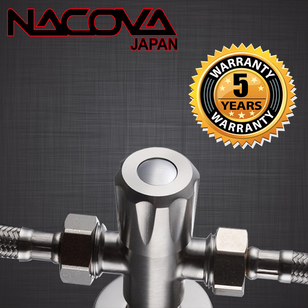 NACOVA SUS304 Stainless Steel Quarter Turn Angle Valve 1/2-Inch IPS 3-Way T-Valve