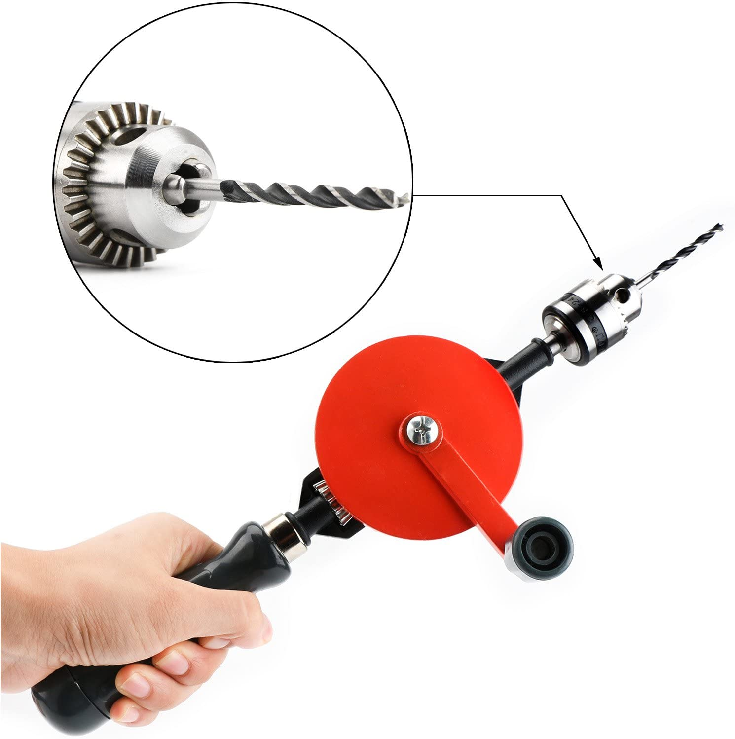 Hand Drill Manual, Hand Drill Rotary Cranking Handle 3/8 inch Chuck 3 Jaw