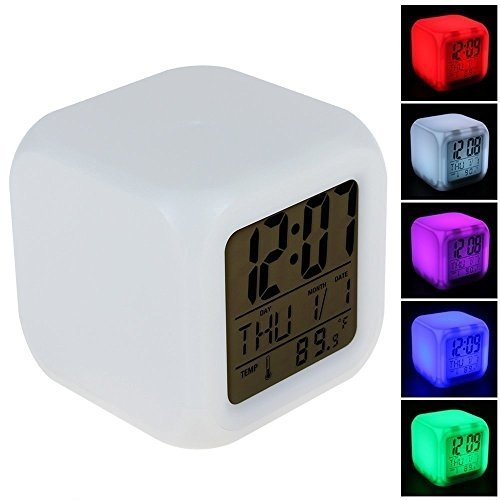LED LCD 7 Colourful Digital Alarm Clock Shining Light LCD Digital Alarm Clocks with Snooze Time Table Alarm Clock