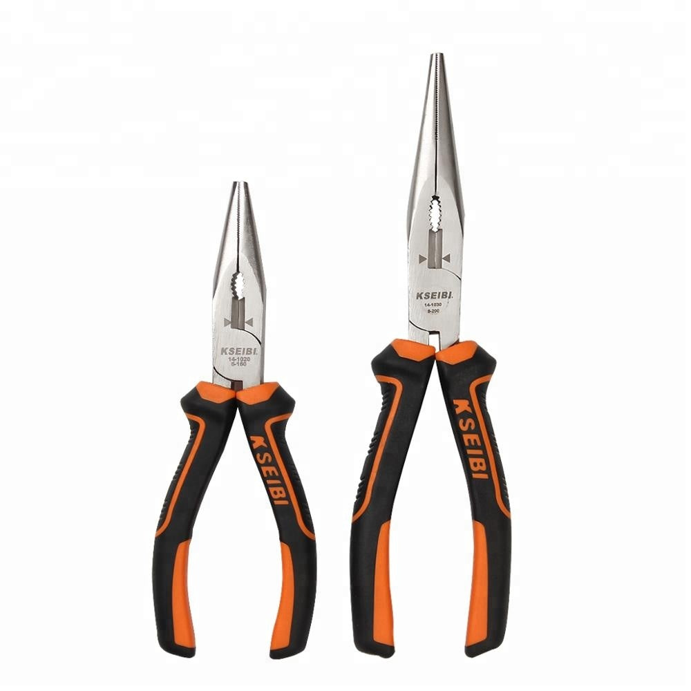 8 Inch Professional High Carbon Steel Combination Long Nose Plier With PVC Handle