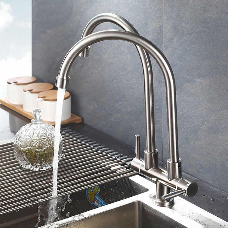 NACOVA Stainless Steel SUS304 Kitchen Faucet Double Twin Pillar Sink
