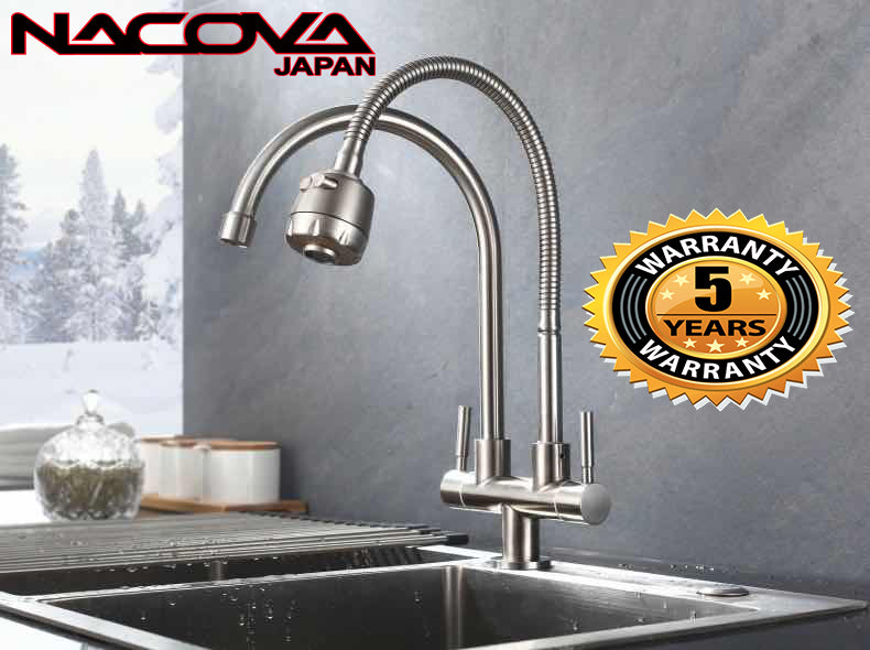 NACOVA Double tap head single cold kitchen faucet free rotation Multipurpose 304 stainless steel single hole sink water tap