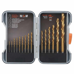 HIGH QUALITY Twist Metal Titanium Drill Bit Set 15 Pieces Bits Kit in a Durable Storage Box